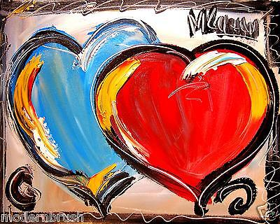 HEARTS  MODERN ABSTRACT ORIGINAL OIL PAINTING  TEXTU RED CANVAS EW546u