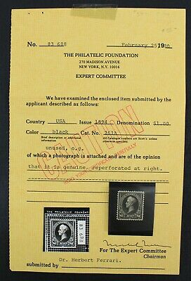 CKStamps: US Stamps Collection Scott#261 $1 Perry Mint H OG Reperf at Right PF