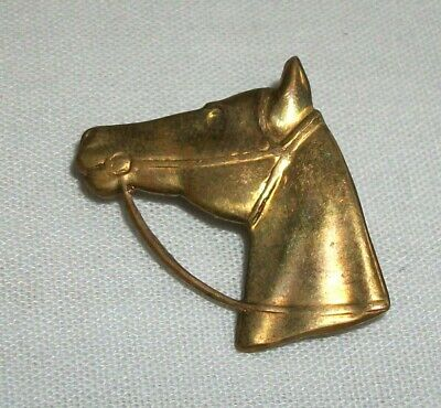 Vintage Brass Horse Head Pin Brooch Equestrian