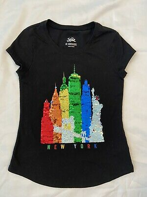 Justice Girls Tshirt Flip Sequins Size 8 Flare Bottom Black With New York Skylin