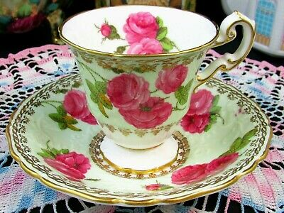Foley Century Rose Green Ornate Embossed Pedestal Tea Cup And Saucer
