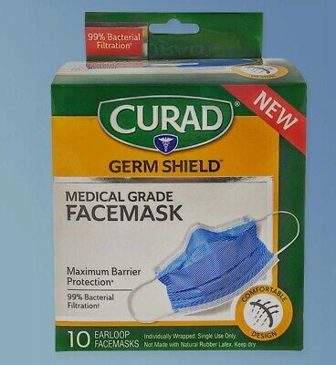 CURAD Germ Shield Level 3 Medical Grade Face Masks 4 Layer 99% BFE 10 Count NEW