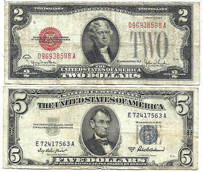 1928G $2 RED! 1953A $5 *SILVER* 2 Notes! Old US Paper Money Currency!