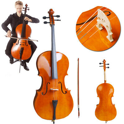 High Quality Cello 4/4 Full Size Natural Color BassWood +Bag+Bow+Rosin+Bridge