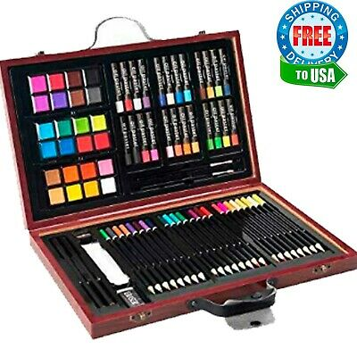 80 pcs Deluxe Art Set Drawing and Painting w Case and Accessories Creativity Kit