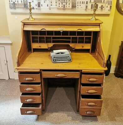 A very unusual Satin Birch, similar to pine Edwardian '1901 1910' Roll Top Desk