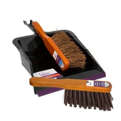 "Charles Bentley Countryman Set of Dustpan / 11"" Soft Coco and Stiff Hand Brushes"