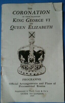 The Coronation King George Vi And Queen Elizabeth,  Programme.