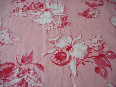 Antique Vintage Orchid Lilac Floral Cotton Fabric ~ Pink Red
