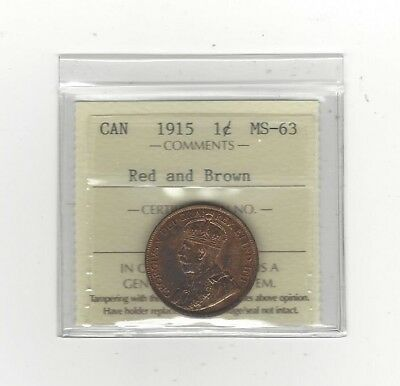 1915, ICCS Graded Canadian, Large One Cent, **MS-63**