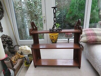 Original Antique mahogany Arts & Crafts shelf ornate sides Ideal hanging on wall