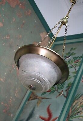 Unusual 20th C Brass Plafonnier Chandelier Light Pendant Holophane Opaline