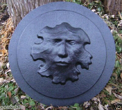 Leaf face stepping stone mold plaster concrete casting mould