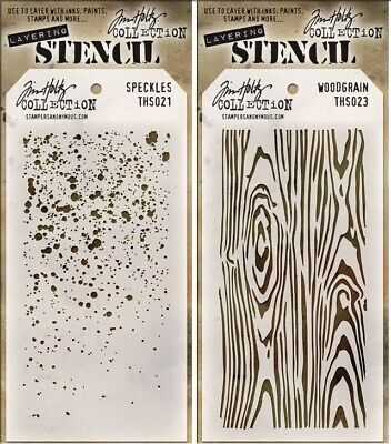 Tim Holtz Layering Speckles & Woodgrain Stencil Template - Wood Grain 2 Stencils