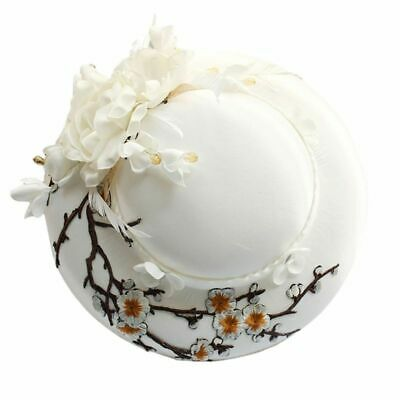 Elegant White Fascinator Bridal Hat Feather Embroidery Branch Flower Pillbox Cap