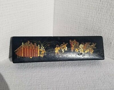 Antique Chinese Lacquer Brush Box Unique Guilded Painting
