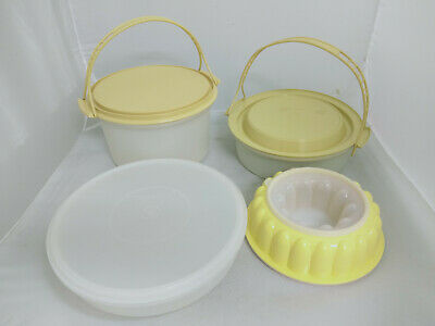 Vintage Retro Tupperware Containers 2 with Handles 1 Jelly Mould