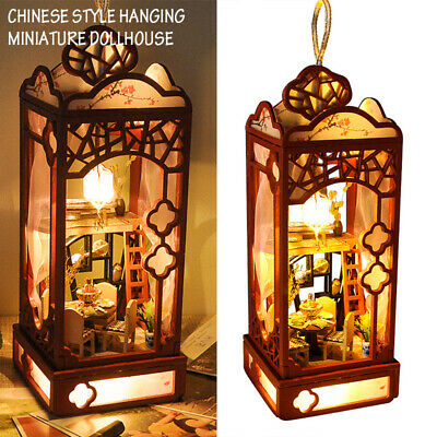 Chinese Style Hanging Miniature Dollhouse Wooden Puzzle Model Furniture LED Kits