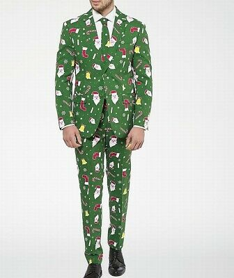 Opposuits Mens Suit Green Size 36 Ugly Christmas 3 Piece Two-Button $119 912