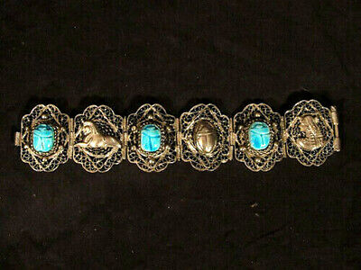 vintage Egyptian Revival Turquoise Scarab & Silver Filigree Cuff Panel Bracelet