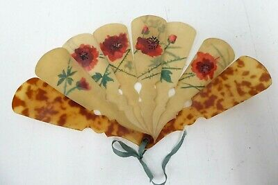 Antique Art Deco Folding Fan - Hand Painted Poppies - Ladies Hand Bag Travel Fan