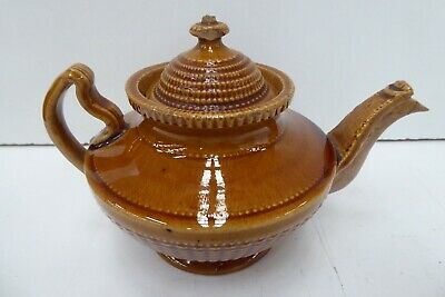 Antique Georgian Small Pottery Teapot  Majolica Glaze - Old Family Estate Lot
