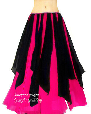 Ameynra Belly Dance Chiffon Skirt Dark-Pink with black petals, New, All sizes