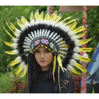 Indian Headdress YELLOW  color Warbonnet Swan Small Native American Hat Bilabong
