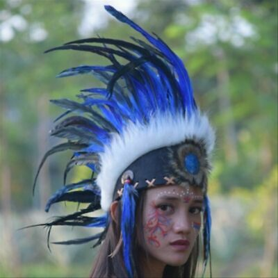 Headdress Indian Mohawk Blue White Hat Feather Warbonnet Native American