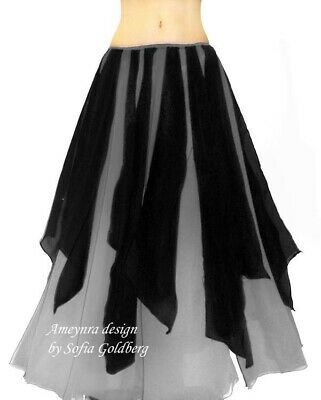 Ameynra Belly Dance Chiffon Skirt with Petals Gray Black bicolor New All sizes
