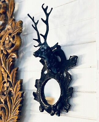 Cast Iron Antique Deer Stag Head Mirrored Mirror Wall Sconce - 10 Available