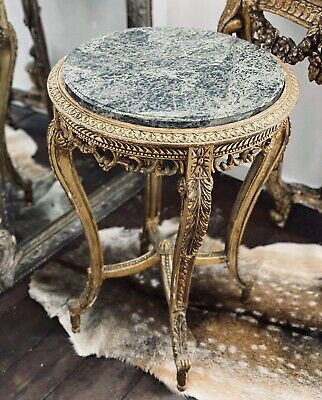 French Antique Side Table Green Marble Top Gold Gilded Carved Timber Base