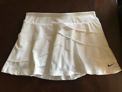 Nike Dry-Fit White Knit Tiered Tennis Skort, Women's Size Small