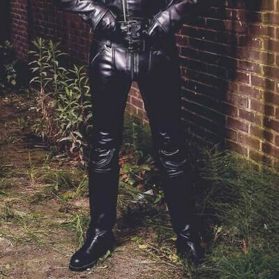 Men/'s Real Leather Pants Bikers Pants With Color Piping Bikers Pants BLUF Pants