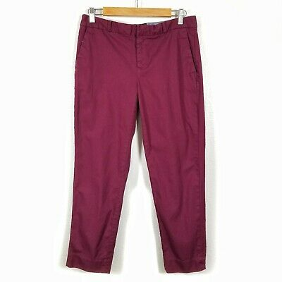 Banana Republic Sz 6 Avery Piquet Beetroot Straight Fit Ankle Pants Womens #0874
