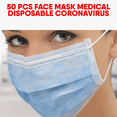 50 PCS Disposable Face Mask Surgical Medical Dental Industrial 3-Ply