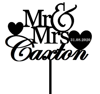 Personalised Wedding Mr & Mrs Heart Acrylic Wood Wedding Cake Topper Keepsake
