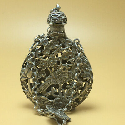 chinese Tibetan silver old copper hand carved woodpecker statue snuff bottle 87g