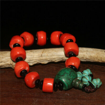 """7.09"""" Chinese Exquisite Coral Turquoise Handmade Bead Bracelet"""