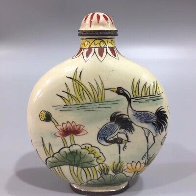 Chinese Cloisonne hand painted Crane lotus snuff bottle Qianlong Year