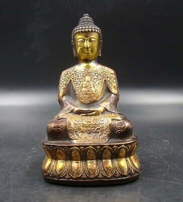 Collectible Chinese Handmade Carving Statue Buddha Copper Brass Gilt Buddhism 1
