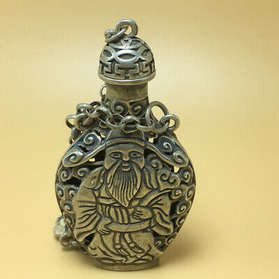 chinese Tibetan silver old copper hand carved ShouXian male statue snuff bottle