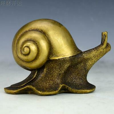 Chinese Old handmade brass statue fengshui lucky Snail