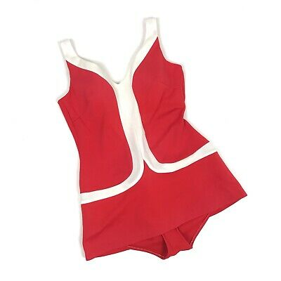 Vintage Sea Star Sears Roebuck Swimsuit 60s Pinup Bombshell Rockabilly Red Retro