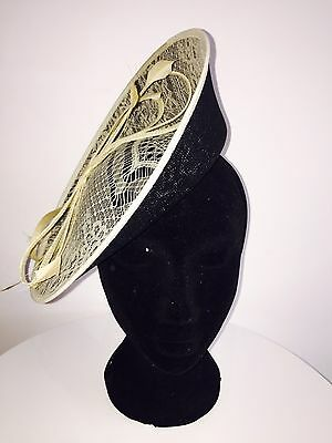 Large Black Cream Disk Lace Sinamay Fascinator/Headpiece Wedding Ascot Races