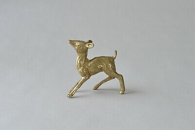 vtg brass deer figurine