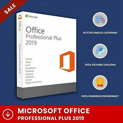 Microsoft Office 2019 Professional Plus Orginal Lizenz, 1 PC, Lifetime & Updates