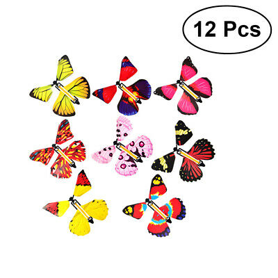 12X Magic Flying Wind Up Butterfly Toy For Birthday Greeting Card Wedding Prank