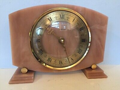Working TEMPORA vintage Onyx Marble look Battery KIENZLE Quartz mantle Clock