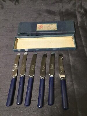 1930 Postmarked Boxed Set of 6 Tea Cutlery Blue Handles Art Deco